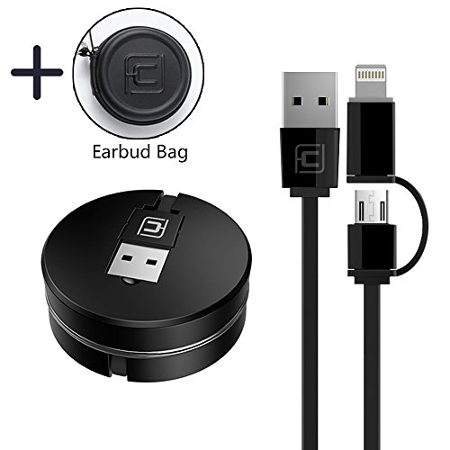 CAFELE Retractable Charging Cable, 2 in 1 8 Pin/Micro USB Portable Flexible Charging Cord Data Sync Cable for iPhone X 8 7 6s 6 Plus 5s 5 SE, Samsung S7 S6, Note, LG, Nexus, Nokia, Black, 3.3ft