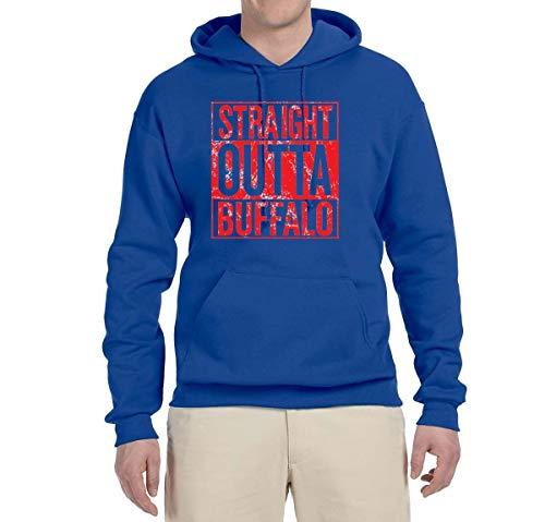 Straight Outta Buffalo BUF Fan | Fantasy Football | Mens Sports Sweatshirt Graphic Hoodie, Royal, Medium