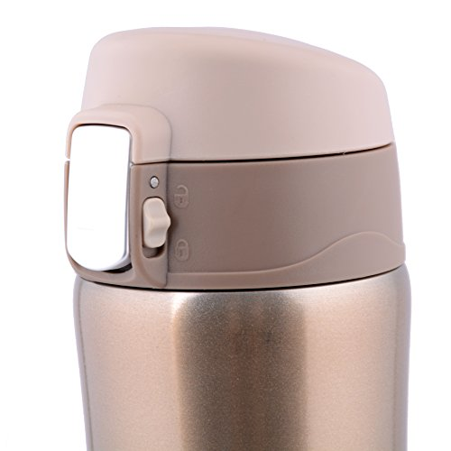Q-shine Vacuum-Insulated Stainless Steel Travel Mug, Gold, 16-Ounce