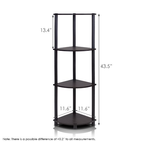 Furinno 12078EX/BK Turn-n-Tube Multipurpose 4-Tier Corner Shelf, Espresso/Black by Furinno