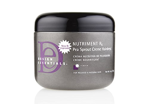 4 Ounce Satin Finish - Design Essentials Nutriment Rx w/Pea Sprout, Daily Moisturizing Creme Hairdress for Weak, Damaged Hair from Thermal Styling or Chemical Treatments-4oz.