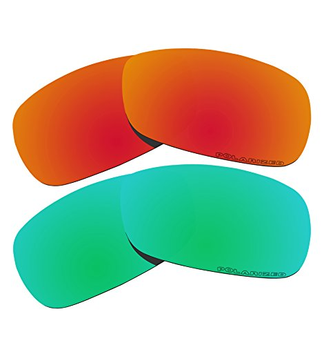 2 Pairs BVANQ Polarized Lenses Replacement Fire Red & Green for Oakley Crosshair 2.0 (OO4044) - Crosshair Polarized