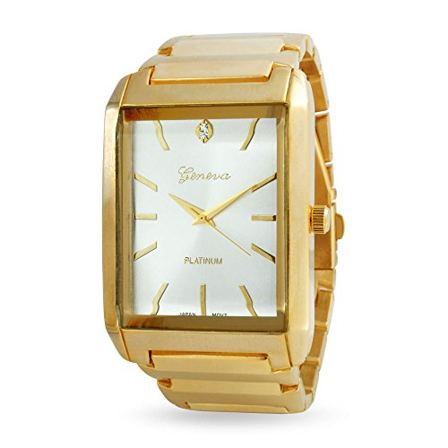 Mens White Rectangle Dial Link Bracelet Wrist Tank Watch for Men Gold Stainless Steel Band Automatic