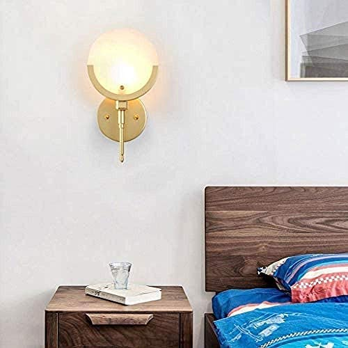 Ronde marmeren vizier wandlampen - postmoderne E14 messing wandverlichtingsarmatuur - binnenwandkandelaar voor gang Home Verlichting Verlichtingsbeugel Licht