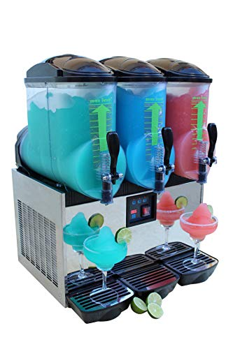 BRAVO ITALIA 3 bowls Slushie machine, 3.2 gallons each bowl, 150 CUPS, COMMERCIAL GRADE, Margarita Maker, Slushie Maker, Margarita Machine, Frozen Beverages Dispenser, Slushy Machine