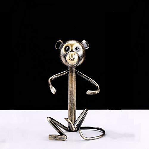 (YHEGV Wine Racks Plated Copper Hug Monkey Creative Display Shelf Bottle Rack Household European Wine Rack)