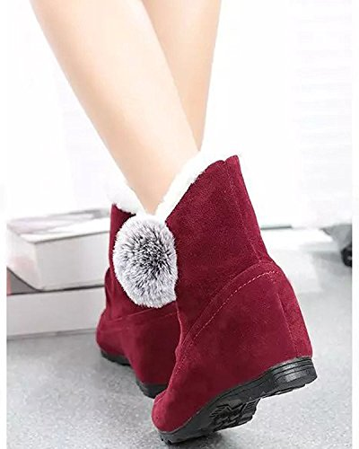 Invierno Creciente Altura Zapatos Botas Talón Nieve Algodón Minetom Poms Lindo Pom Mujer Botas Rojo Plano Botas De Vino 8qW5F