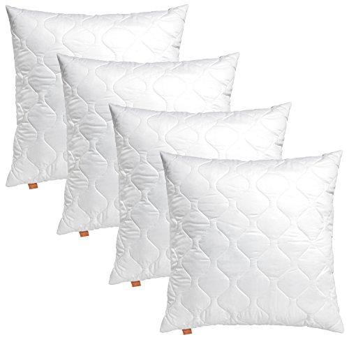 4er Set sleepling 191176 Komfort 100 Kopfkissen Mikrofaser Sofakissen 50 x 50 cm, weiß