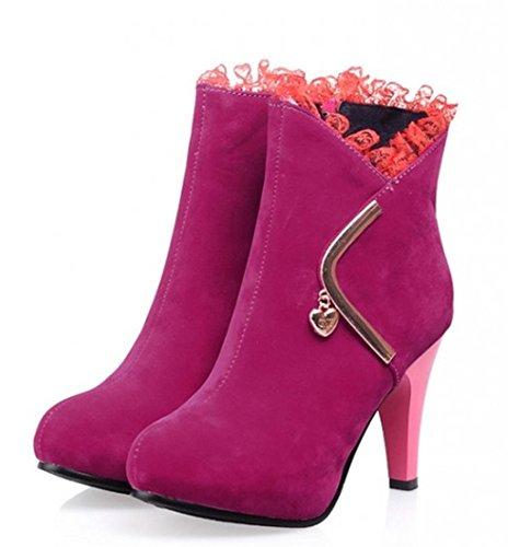 Las mujeres de HETAO Tacones de personalidad ponen en cortocircuito el talón del talón del tobillo de las botas cortas occidentales del Temperamento Zapatos elegantes Red Rose