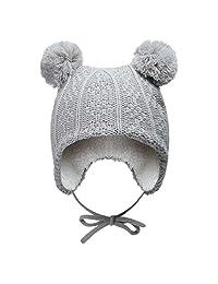 Vivobiniya Baby winter hats Toddler boy and girl Knit hats earmuff hat 0-6y (50-54cm(19.6-21.2in Head circumference), gray)