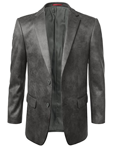 MONDAYSUIT Mens Lightweight Faux Leather Sport Coat Blazer Jacket GRAY