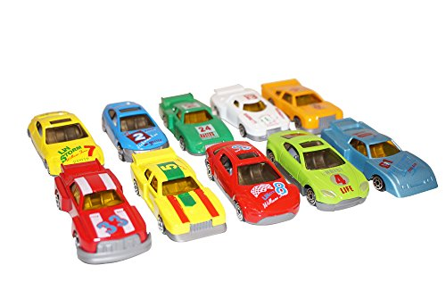 Diecast Metal Toy Car (Diecast Metal Race Cars Set of 10 Toys, Action Speed Street Race Vehicles with Traffic Signs, Turbo Racer Die Cast, Free Wheeling Convertibles Great Gift Assorted for Kids Boys or Girls)