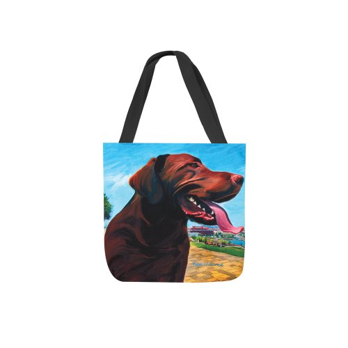 Manual View From the Hill Chocolate Lab Paws and Whiskers Square Tote Bag, 17-Inch (Womens Turtle Irresistible)