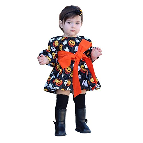 XiaoReddou Baby Girls Long Sleeve Pumpkin Spider Halloween Dress Big Bowkont Skirts (Black, 4-5 Years) -