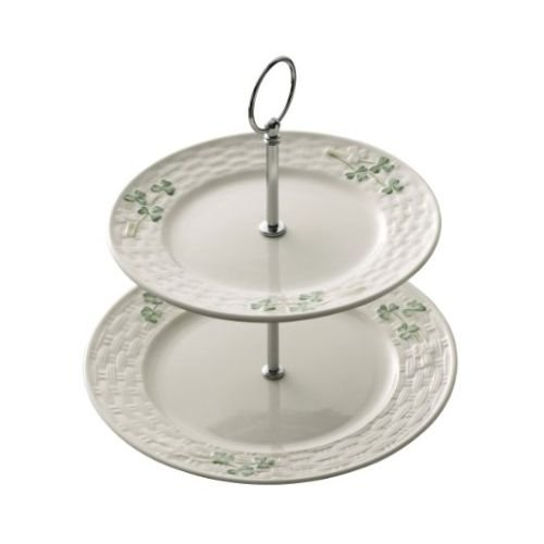 Belleek Pottery Shamrock Tiered Server, Green/White