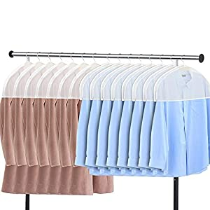 Zilink Shoulder Covers for Clothes (Set of 15) Breathable Garment Dust Covers Protectors with 2″ Gusset for Suit, Coats, Jackets, Dress Closet Storage