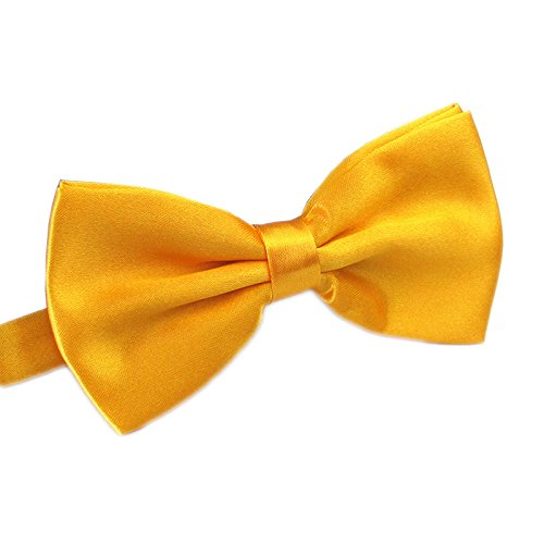 Men's Pre Tied Bow Ties for Wedding Party Fancy Plain Adjustable Bowties Necktie (Golden Yellow) -