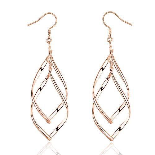 Dangle Wave (ARMRA Fashion Classic Silver Double Wave Loops Tassels Earrings (Wave Rose Gold))