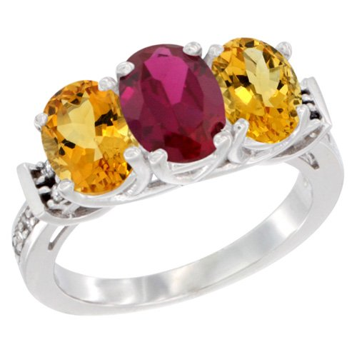 10K White Gold Enhanced Ruby & Citrine Sides Ring 3-Stone Oval Diamond Accent, size 8