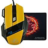 E-STONE X7 Design LED Light Wired Gaming 2000DPI USB Mouse+Mouse Pad , Black