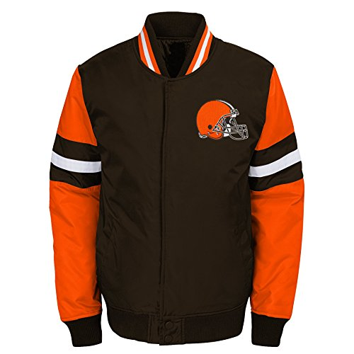 Outerstuff NFL Cleveland Browns Youth Boys Legendary Color Blocked Varsity Jacket Brown Suede, Youth X-Large(18)