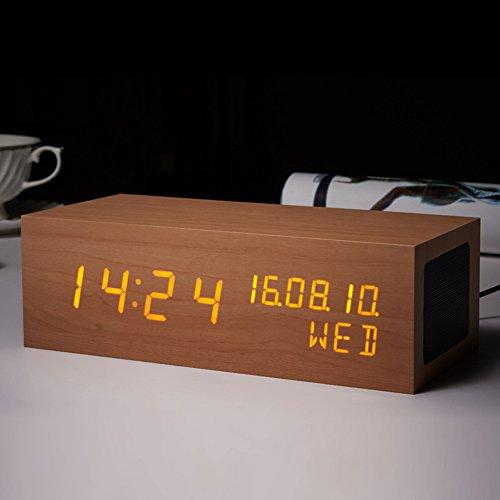 Reloj despertador de visualización LED multifuncional de madera, portátil, estéreo, altavoz Bluetooth, creativo para el...