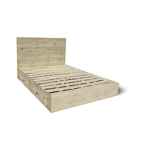 Storage Platform Bed Frame and Headboard Set - Modern / Rustic Platform Bed With Drawers