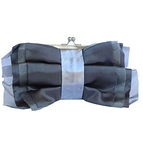 (Ladies Dinner Package Chiffon Fashion Bag Bow Pleated Design Women's Clutch Metal Buckle Design Bag (Color : Gray, Size : 22x13x4cm))