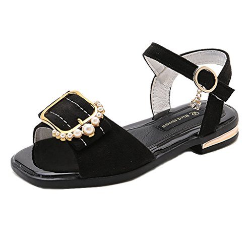 Toddler Kids Girls Open Toe Sandals Soft Suede Leather Pearl Buckle Non-Slip Princess Sandal Shoes (Slip Suede Sandals)