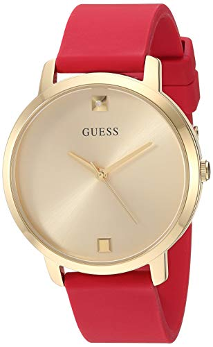 GUESS Comfortable Gold-Tone Red Stain Resistant Silicone Watch with Genuine Diamond Accents. Color Red Model U1210L2