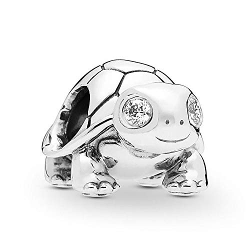 Romántico Amor Bright-Eyed Turtle Charm 925 Sterling Silver Pet Bead fit Pandora Bracelets