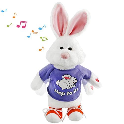 Houwsbaby Jumping Bunny Plush Musical Stuffed Animal Electric Rabbit Dancing and Swinging Hopping Interactive Animated Gift for Kids Friends, 20 Inches