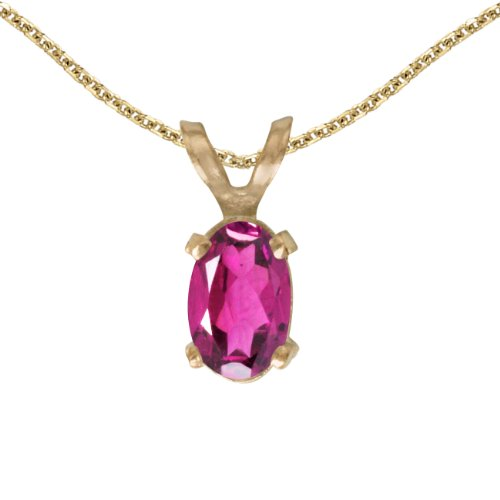 Jewels By Lux 14k Yellow Gold Genuine Birthstone Oval Pink Topaz Pendant (0.43 Cttw.)