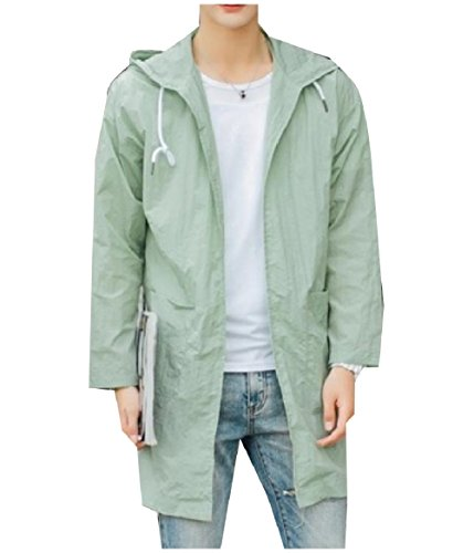Howme-Men Comfy Hooded Sunscreen Zip Pure Colour Trench Coat Jacket Light Green