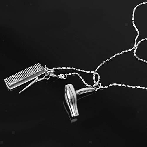 (Silver Brow Dryer Scissors Salon Hair Stylist Comb Pendant Necklace Chain Necklace Jewelry Crafting Key Chain Bracelet Pendants Accessories Best)
