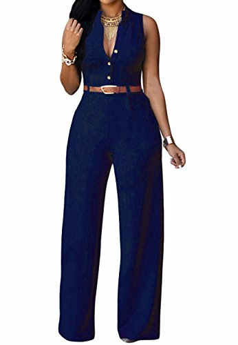 roswear Women's Sexy Plunge V Neck Belted Wide Leg Jumpsuits Dress Navy Blue X-Large