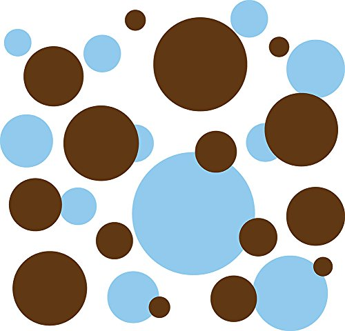 136 Polka Dot Peel & Stick Wall Decals, Baby Blue & (Brown Polka Dot Peel)
