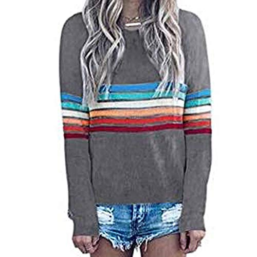 Ulanda Women's Crew Neck Rainbow Striped Shirt Color Block Long Sleeve Blouse Casual Pullover Top Sweatshirt (Apparel Azalea)