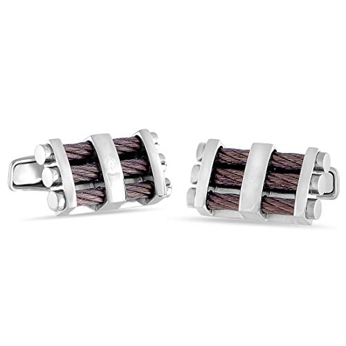 (Charriol Stainless Steel Bronze Plated Cable Rectangle Cufflinks)