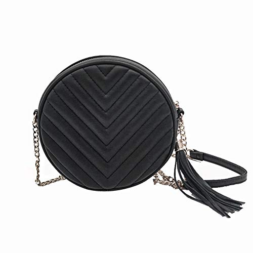 Round shape purse classic quilted circle crossbody bag for -