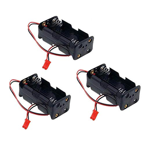 Receiver Battery Box - 3 Pack ShareGoo 02070 4 Cell AA Battery Container Case holder Pack Box with JST Plug Receiver for HSP Redcat 1/8 1/10 RC Nitro Power Car Truck