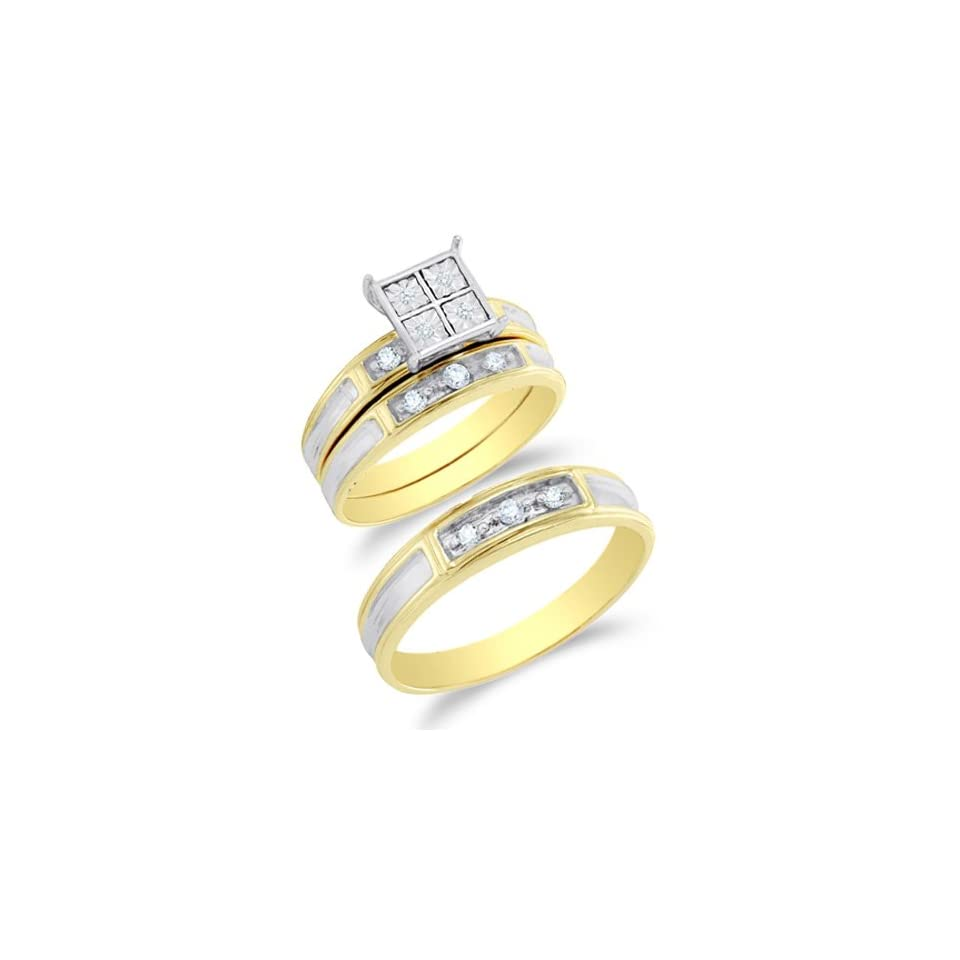 Size 9   10K Two Tone Gold Diamond Mens and Ladies His & Hers Trio 3 Three Ring Bridal Matching Engagement Wedding Ring Band Set   Square Princess Shape Center Setting w/ Pave Channel Set Round Diamonds   (1/5 cttw)   SEE PRODUCT DESCRIPTION TO CHOOSE BO