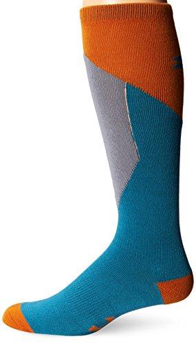 Under Armour Mens ColdGear Color Block Thin Over-the-Calf Socks (1 Pair), Blue Wave/Hunter Orange, X-Large