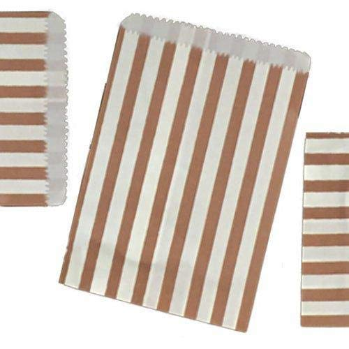 Jeffyo 100 Candy Stripe Paper Bags Sweet Favour Buffet Gift Shop Party Sweets Cake Wedding (5″ x 7″, Brown)