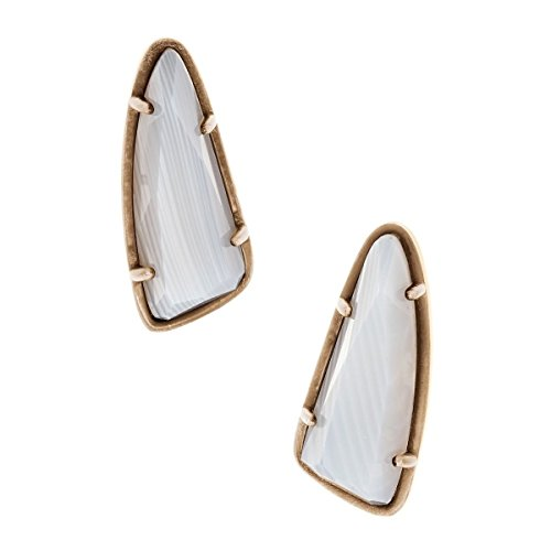 Kendra Scott Everett Stud Earrings in Antique Brass and White Banded Agate