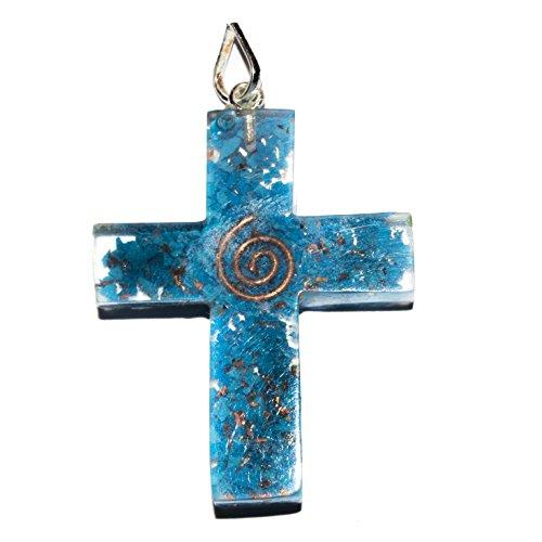 YATHABI Turquoise Orgone Crystal Necklace Pendant for Reiki Healing Spiritual Health Wealth Intelligence Chakra Balancing Jewellery Making DIY Gift (Size: 2 - Geometric Necklace Turquoise
