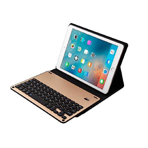 Price comparison product image Bluetooth Keyboard, Case,for iPad Pro 9.7inch iPad Air/Air2,Sunfei Ultra Aluminum Bluetooth Keyboard with Leather Cover (Gold)