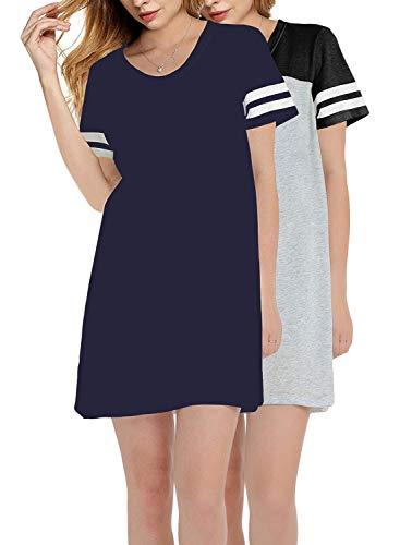 GEEK LIGHTING Nightshirts for Women Scoop Neck Plus Size Sleep Tee Nightshirt(Navy&BlackGrey 2pack,2XL)