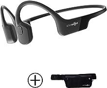 AfterShokz Aeropex Open-Ear Wireless Bone Conduction Headphones with Sport Belt, Cosmic Black, 2.3