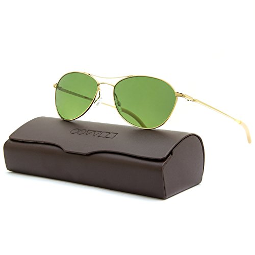 Oliver Peoples Aero Sunglasses 5035/P1 Gold Frame Green Jade VFX POLARIZED - Oliver Logo Peoples